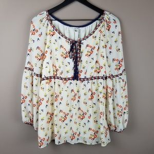 Sophie Max NWT Floral Peasant Boho Blouse Size L